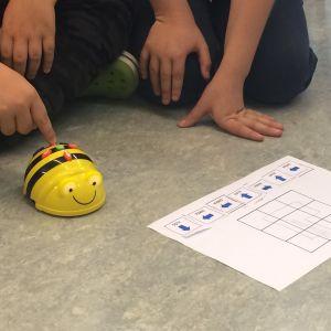Skolelever kodar bibottar, alltså svartgula små birobotar.