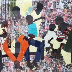 Målning av Njideka Akunyili Crosby på venedigbiennalen 2019.