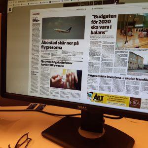 Åbo Underrättelsers e-tidning på datorskärm
