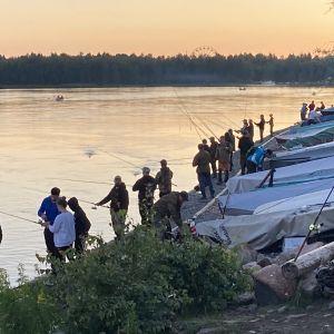 Lohenkalastajia rivissä iltahämyssä Oulujoen rannalla Hartaanselän kohdalla.