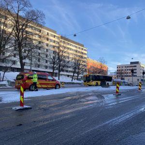 Turun Uudenmaankadulla vesivuoto 12.2.2021