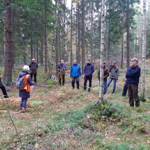 Västnyländska skogsägare i en skog i Västankvarn.
