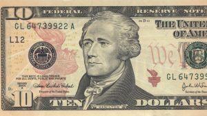 Amerikansk tiodollarssedel med Alexander Hamilton.