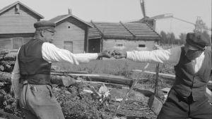 """Två män leker leken """"dra fingerkrok"""". Bilden är tagen 1930 i Korsnäs kyrkby,"""