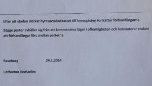 Mötesprotokoll undertecknat av Catharina Lindström.