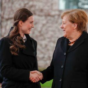Statsminister Sanna Marin och förbundskansler Angela Merkel i Berlin.