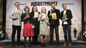Nominerade i kategorin Årets svenska fackbok 2015: (fr vä) Johan Hilton, Karin Johannisson, Maja Hagerman, Karin Bojs, Martin Kaunitz (förläggare) som tar emot priset eftersom Lennart Pehrson inte kunde närvara, Magnus Linton.