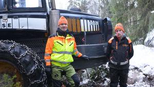 Två män står framför en traktor. De befinner sig i en snöbeklädd skog. Den ena av männen har en gul rock på sig och båda har arbetskläder.