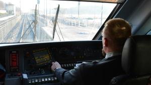 Vy från nya expresståget mellan Åbo och Helsingfors