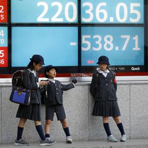 Skolbarn i Tokyo framför en skärm med börskurser i december 2018.