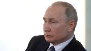 Rysslands president Vladimir Putin i sidoprofil.