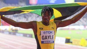 Tajay Gayle efter VM-guldet 2019.
