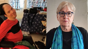 En man i en rullstol och en äldre kvinna med glasögon.