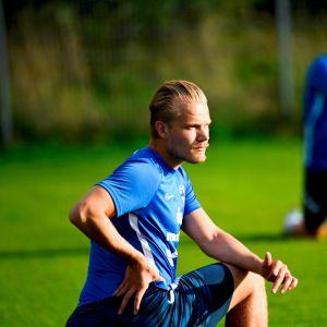 Joel Pohjanpalo harjoitteli maajoukkueen kanssa Helsingissä.