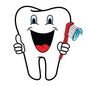 Tecknad bild på en glad tand.