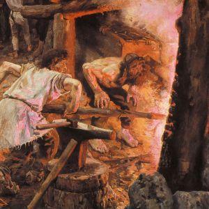 """eli Gallen-Kallelan Kalevala-kuvitusta. """"Sammon taonta"""", yksityiskohta. Öljyvärimaalaus (maalaus): Akseli Gallen-Kallela, 1893."""