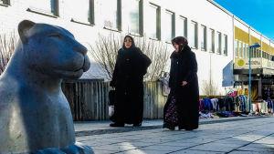 Två äldre invandrarkvinnor i mörka kläder promenerar och diskuterar.