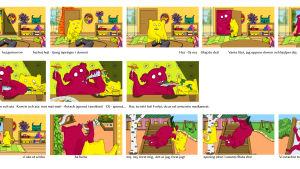 Storyboard för den animerade barnserien Hoppsorna.