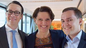 Carl Haglund, Anne Berner och Wille Rydman diskuterade regeringsprogrammet i Morgonöppet 28.5.2015