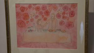 Akvarell som föreställer en förälskat par.