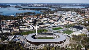 Flygbild över Olympiastadion.