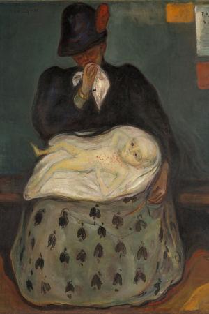 Edvard Munchs målning Inheritance. En mamma håller sitt syfilissmittade barn i famnen, hon med en näsduk framför sin mun. Målad någon gång mellan 1897-1899.
