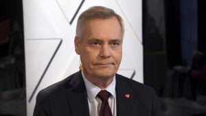 Socialdemokraternas ordförande Antti Rinne på Yles valdebatt den 14 mars 2019.