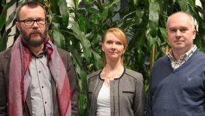 porträttbild på Misha Eriksson, Satu Björksten och Mikael Federley i Mattlidens skola