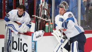Tuukka Rask och Pekka Rinne i World Cup-turneringen.
