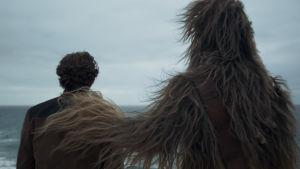 Han Solo (Alden Ehrenreich) och Chewbacca (Joonas Suotamo) står med ryggen mot kameran och ser ut över havet, Chewbacca har lagt sin hand på Hans axel.