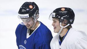 Eetu Koivistoinen och Kasper Björkqvist under landslagsträning.