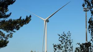 Ett vindkraftverk står stilla.