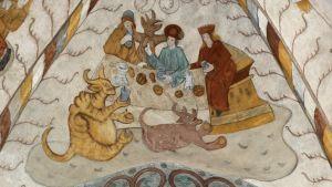 Syntisten pitopöytä (Paholaisten pidot), kalkkimaalaus Lohjan Pyhän Laurin kirkossa n. 1514
