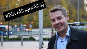 Banombudsman Tuomas Kurttila med #NiVetIngenting-stämpel