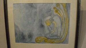 Akvarell av en ängel och en gråtande person.