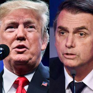 En bildkombination på USA:s president Donald Trump och Brasiliens tillträdande president Jair Bolsonaro. Båda bilderna tagna i oktober 2018.
