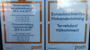 Bild på lapp på postkontorets vägg.