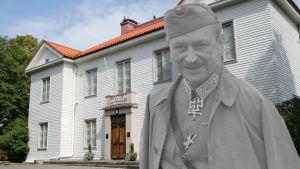 Collage med Carl Gustaf Mannerheim framför Mannerheimmuseet.