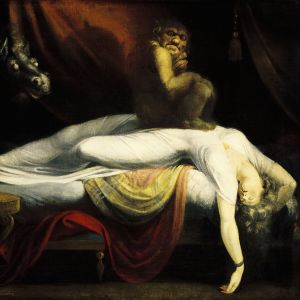 John Henry Fuselin maalaus Painajainen. Naista riivaavat demonit.