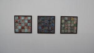 Gun tallqvist tre verk med keramikplattor.