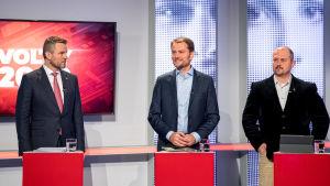 Partiledardebatt inför parlamentsvalet i Slovakien: Peter Pellegrini, Igor Matovic och Marian Kotleba.