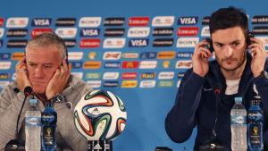 Dider Deschamps och Hugo Lloris, presskonferens i Brasilien under VM 2014.
