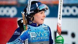 Krista Pärmäkoski efter ett lopp.