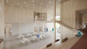 Enplanskiss på hur Kyrkfjärdens skola kunde se ut inne, mycket ljust material och öppen planlösning.