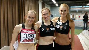 Zenitha Eriksson, Heidi Eriksson och Karin Storbacka, inomhus-FM 2016.