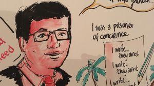 En del av ett konstverk om Mohamed Nasheers liv