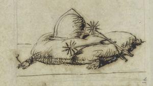 Olof den heliges hjälm och sporrar, illustration Erik Dahlbergh i verket Suecia antiqua et hodierna.