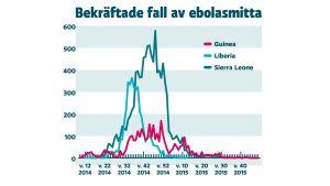 Ebolafeber. Sjukdomens utveckling i de mest drabbade länderna: Guinea, Liberia och Sierra Leone. Antal insjuknade personer (bekräftade fall) per vecka januari 2014 till och med mars 2015. Perioder utan uppgifter saknar markering. Källa: WHO (2015).