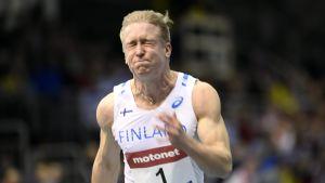 Eetu Rantala löper 60 meter inomhus, Nordenkampen 2017.