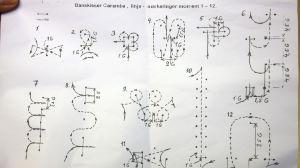 En teckning där det finns många olika ritningar med siffror bredvid.